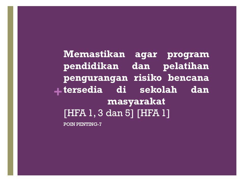 Memastikan agar program pendidikan dan pelatihan pengurangan risiko bencana tersedia di sekolah dan masyarakat [HFA 1, 3 dan 5] [HFA 1]